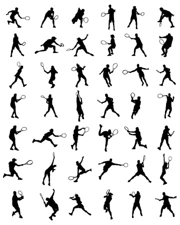 Black silhouettes of tennis players, vector