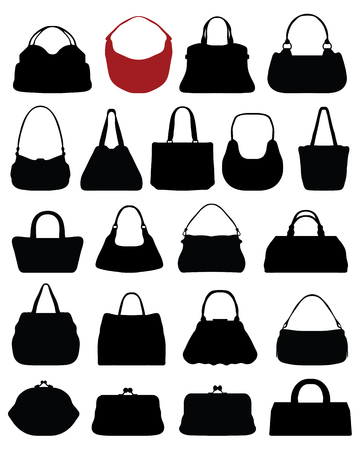 purses: Silhouettes of purses on a white background, vector Illustration
