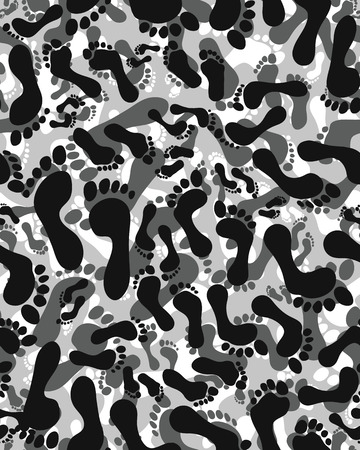 foot soldier: Prints of human feet, seamless vector wallpaper,Camouflage pattern