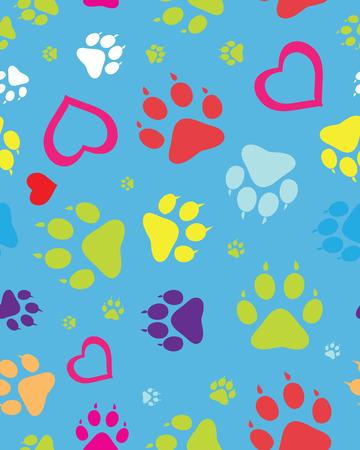 trot: Footprints of cat, seamless vector wallpaper