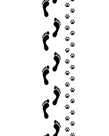 two roads: Prints of human feet and dog paws,seamless vector wallpaper