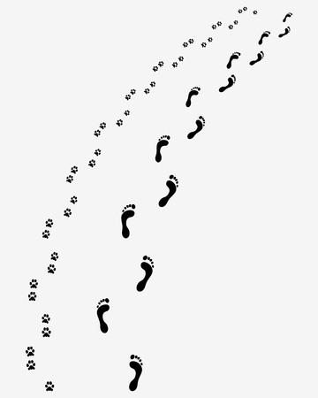 dog walker: Black footprints of man and dog, turn right