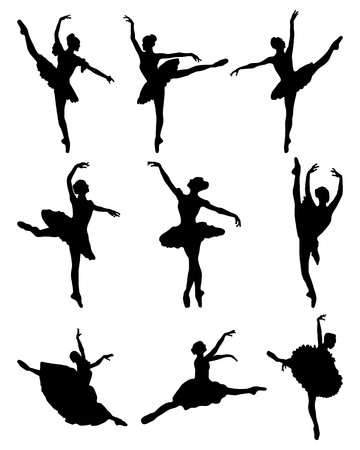 stage costume: Black silhouettes of ballerinas