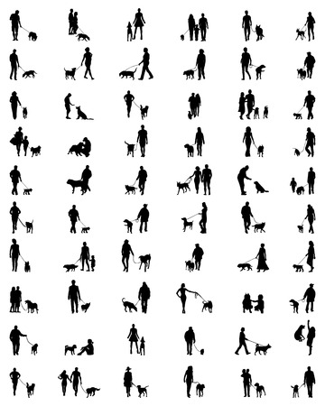 Black silhouettes of people with dogs