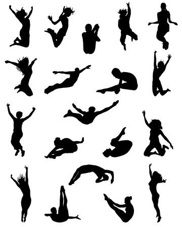 black people: Black silhouette of jumping people