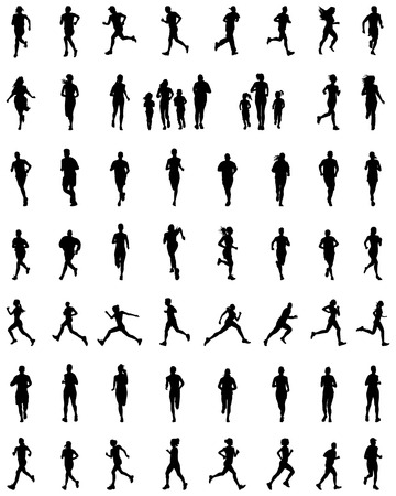 Black silhouettes of people running