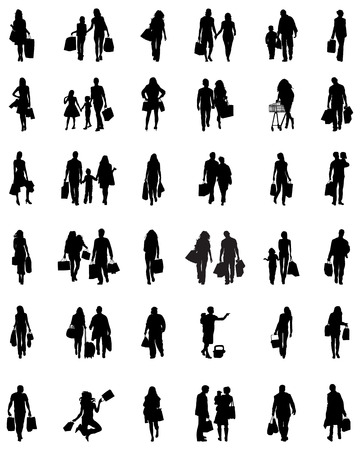go to store: Silhouettes of people in the shopping Illustration