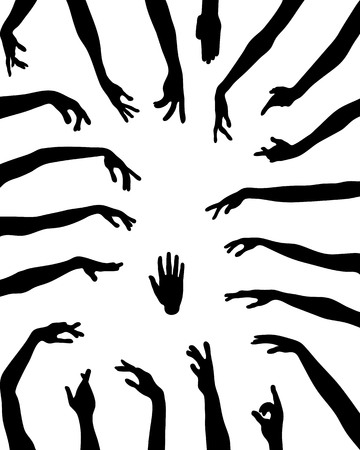 hi five: Silhouettes of hands in various positions