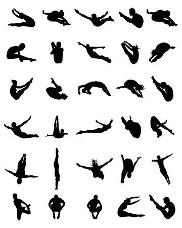 Negro siluetas de personas saltando en el agua Ilustración de vector