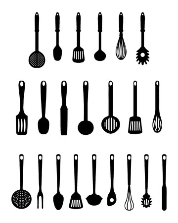 Black silhouettes of kitchen utensils, vector isolated