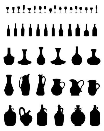 cocktail strainer: Black silhouettes of bowls, bottles and glasses, vector Illustration