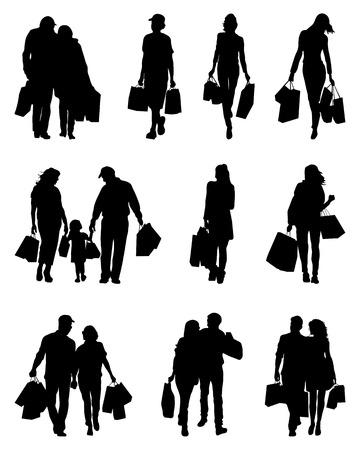 Silhouetten von Menschen in den Einkaufsmöglichkeiten auf einem weißen Hintergrund