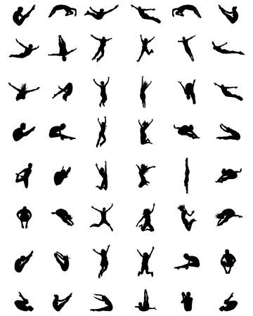 Zwarte silhouetten van mensen springen op een witte achtergrond Stock Illustratie