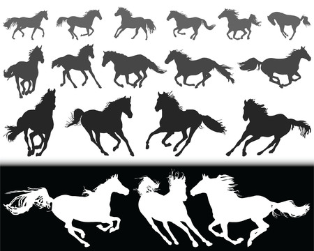 Black silhouettes of horses on a white background and white silhouettes on a black background. Vettoriali