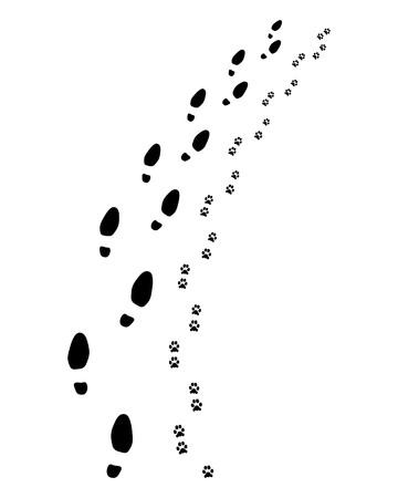 Empreintes de l'homme et du chien, tournez à droite, illustration vectorielle.