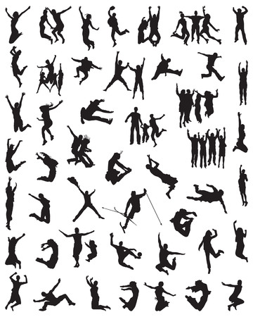 Black silhouette of people jumping on a white background