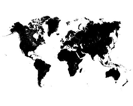 black world map on a white background Vetores