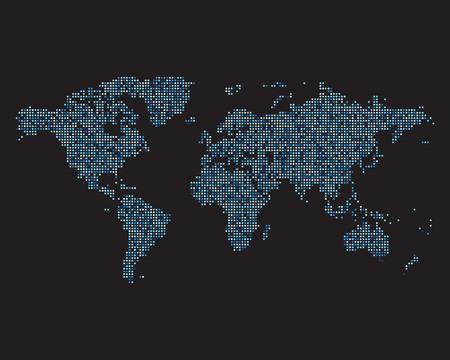 Carte du monde faite de points bleus