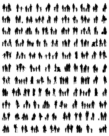 Silhouettes of families at walking on a white background Ilustração