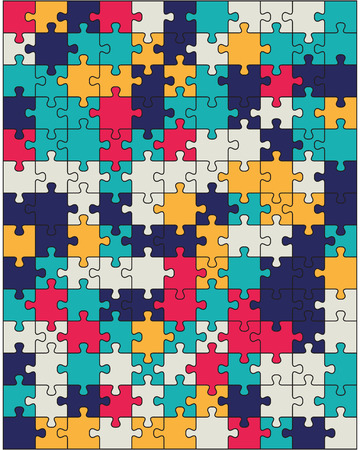 illustration of colorful shiny puzzle, separate parts