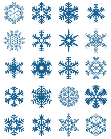 Set of different blue snowflakes on a white background Ilustração