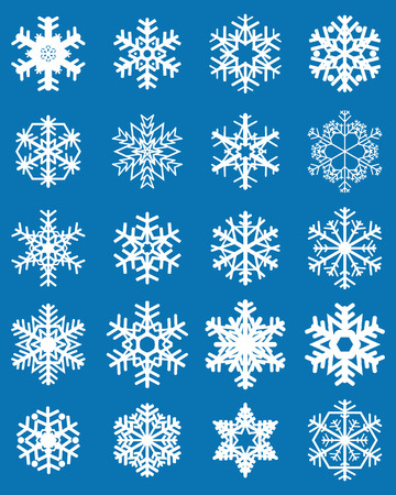 Set of different white snowflakes on a blue background