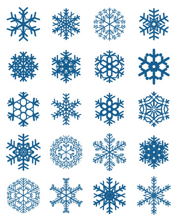 Set of different blue snowflakes on a white background Illustration