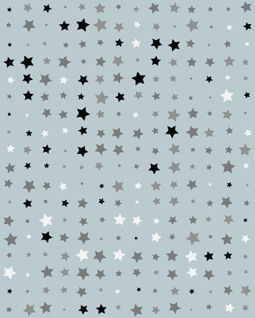 Seamless pattern with stars on gray background Ilustração