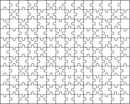 Separate pieces of white jigsaw puzzle