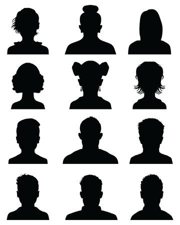 Avatar de silhouettes de tête masculine et féminine, icônes de profil