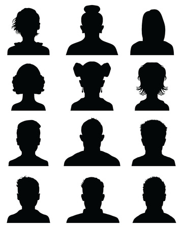 Avatar di sagome di testa maschile e femminile, icone del profilo