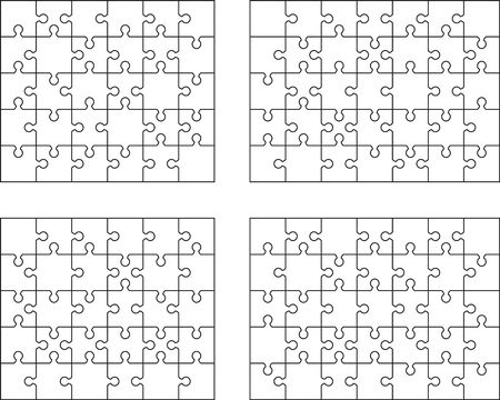 Vector illustration of four different white puzzles, separate pieces Zdjęcie Seryjne - 144805519