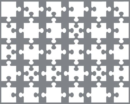 Illustration of white puzzle, separate pieces on a gray background Ilustracja