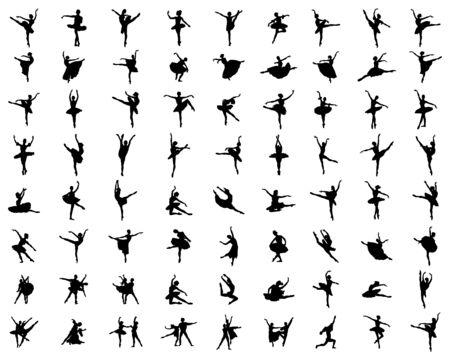 Black silhouettes of ballerinas on a white background Ilustracja