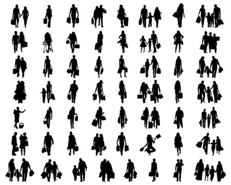 Silhouettes of people in the shopping on a white background