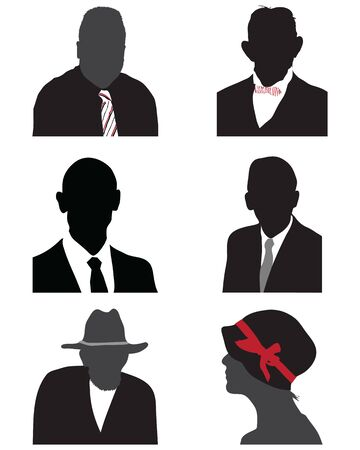 Silhouettes of human heads, avatar profiles on a white background Ilustracja