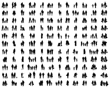 Silhouettes of families at walking on a white background Ilustracja