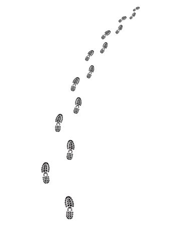 Footprints of shoes on a white background, turn right