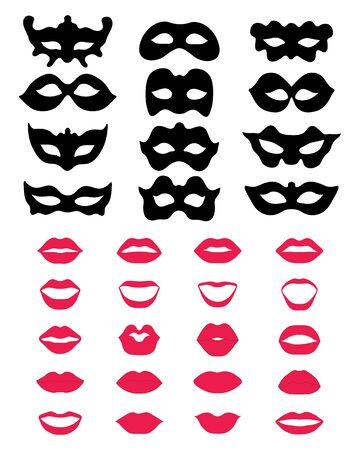 Silhouette of festive masks and lips on a white background Ilustração