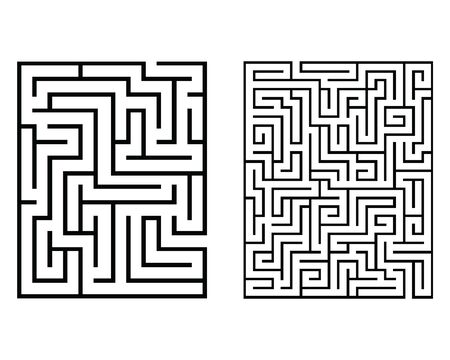 Rectangular labyrinths isolated on a white background Ilustração