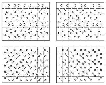 Vector illustration of different white puzzles, separate pieces Zdjęcie Seryjne - 144805544