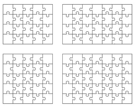 Vector illustration of different white puzzles, separate pieces