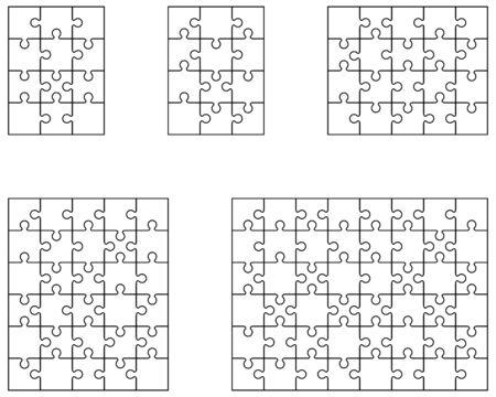 Illustration vectorielle de cinq puzzles blancs différents, pièces séparées