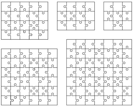 Vector illustration of five different white puzzles, separate pieces