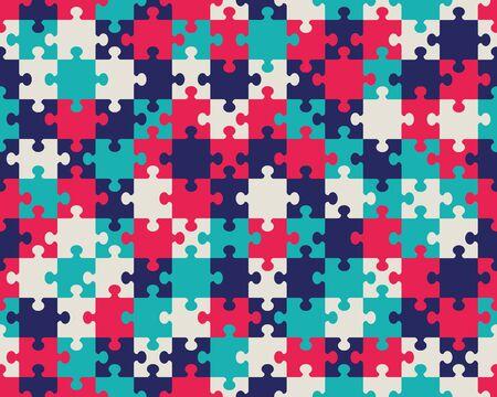 Seamless illustration of colorful shiny puzzle, separate parts Ilustracja