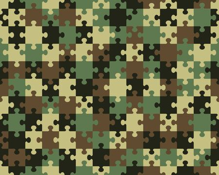 Vector illustration of camouflage seamless puzzle, separate pieces