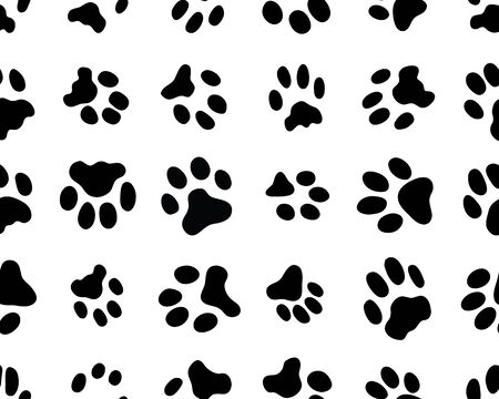 Black trace of cats on white background, seamless vector wallpaper
