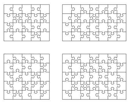 Vector illustration of four different white puzzle, separate pieces