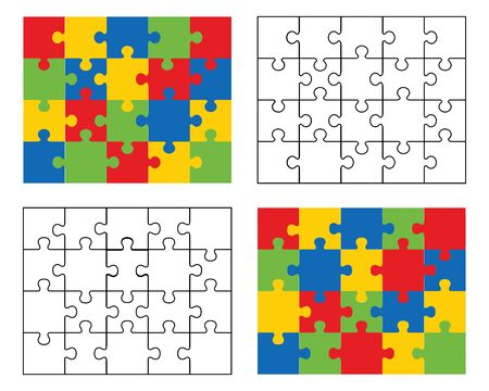 Vector illustration of four different white and colored puzzles, separate pieces