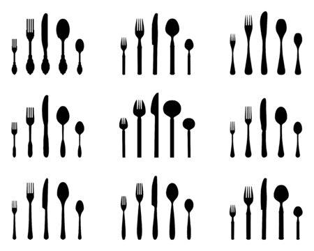 Set of black silhouettes of cutlery on white background Ilustracja